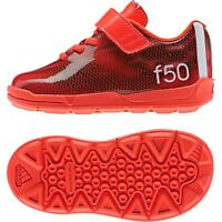 Adidas Infant Kids F50 El Trainers Velcro Solar Red shoes UK Size New