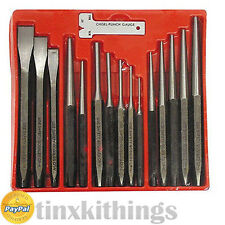 Pin Punch Cold Chisel Set 16pc Taper Metal Work Hand Tool Machinist Storage Tray