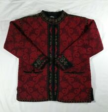 Icelandic Design Women's Large Lined Sweater Coat Cardigan Red Floral Tapestry