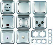 AMBIENT silber: Wechselschalter Steckdose Dimmer Kontrollschalter Serienschalter