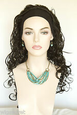Premium Quality Natural Long Brunette Wavy Curly 3/4 Wig Black Headband Wigs