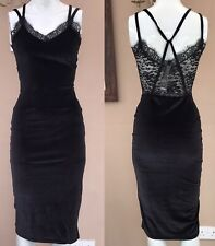 BNWT Boohoo Velvet Midi Dress Size 8 Lace Back Strappy Bodycon Night Out Party