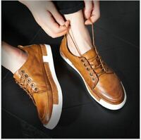 Mens synthetic Leather wing tip oxford lace up Brogue sneakers chic casual shoes