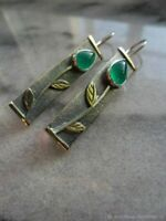 Vintage 925 Silver Emerald Leaves Earrings Hook Drop Engagement Wedding Jewelry