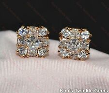 Stunning 18ct/18k Yellow Gold Filled Square Design Crystal Stud Earrings