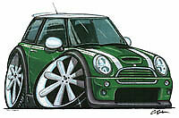 New Mini Cooper S Cartoon car t-shirt - Green Car image on white shirt