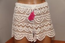 New Miken Swim Swimsuit Bikini Cover Up Shorts White Size M Crochet
