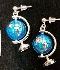 Earrings Silver Post Drop Dangle Retro Silver With Blue Enamel Globe