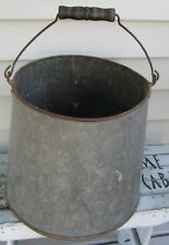 ANTIQUE GALVANIZED SHAPELY MAPLE SYRUP GATHERING PAIL W/HANDLE