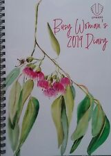 DIARY BUSY WOMAN'S 2019 Week Spread A5 Spiral Year Planner Gumnuts Leaves Design