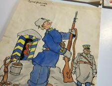 "Rudolf Petersson Sweden Artist Original 1940s art ""KARLSSON"" Lot of 4 items"