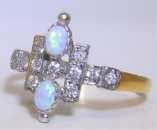 ART DECO STYLE 9CT GOLD ON SILVER OPAL CLUSTER  STATEMENT RING SIZE P