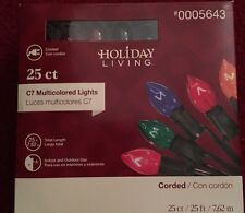 Holiday Living 25ct C7 Transparent Multi-Color Christmas Lights New In Box