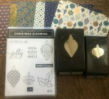 Stampin Up CHRISTMAS GLEAMING Stamp set, 2 ORNAMENT PUNCHES & FOIL DSP Bundle