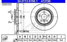ATE Juego de 2 discos freno Trasero 272mm para CITROEN C8 PEUGEOT 807