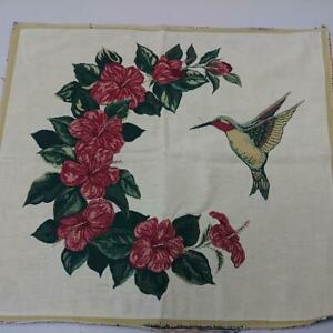 VINTAGE HUMMINGBIRD FLORAL TAPESTRY PILLOW FRONT