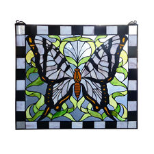 BUTTERFLY TIFFANY STYLE LEADLIGHT WINDOW PANEL - WILL SHIP AUSTRALIA WIDE