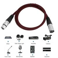 3FT 3pin XLR Cable Male to Famale Microphone MIC Audio Cord Mixer Connector Wire