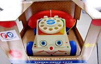 Fisher-Price CHATTER TELEPHONE Phone PULL TOY FP 1694 eyes move dial rings NIB