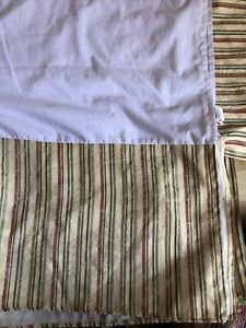 Croscill Queen Striped Bedskirt Floral Damask Pale Yellow Green Red Blue Stripe