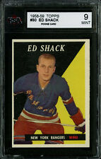 1958-59 TOPPS HOCKEY~#30~ED SHACK~ROOKIE CARD~NEW YORK RANGERS~KSA 9 MINT