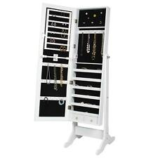 Mirror Jewelry Cabinet Armoire Stand Mirror Rings, Necklaces, Bracelets White JD