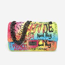 Women's Graffiti Color PU Leather Handbag Sling Chain Strap Ladies Messenger Bag