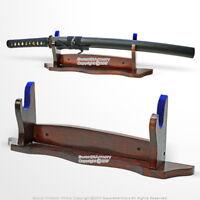 One Tier Samurai Katana Wakizashi Sword Display Stand Solid Wood w/ Blue Velvet