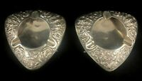 PAIR OF LATE 19th CENTURY THAILAND STERLING SILVER ASH TRAYS *** 207 GRAMS ***