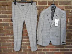 Burton Men's 2-Piece Grey Houndstooth Checked Suit Size 40S/34S BNWT 3541