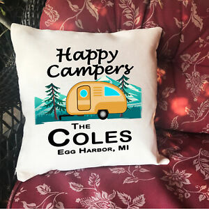 Happy Camper Custom Name Personalized Throw Pillow Case Sham Linen RV15.5x15.5in