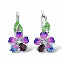 Exquisite Pear Cut Ruby Enamel Flower Dangle Earrings 925 Silver Wedding Jewelry
