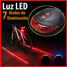 Luz LED para Bicicleta Bici Trasera y Laser de Carril de Seguridad 7 Posiciones