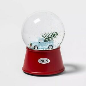 "2019 Truck w/Pine Tree Musical Snowglobe Water Snow Globe 6"" Winter Xmas Holiday"