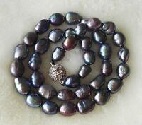 charm 8-9mm schwarz Barock Süßwasser-Perlen halskette 17 zoll Magnetverschluss