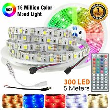 Led Strip Lights 12V Waterproof 5M 300 LEDS 5050 SMD RGB + 44 KEY IR Controller