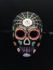 Day of the Dead Mask Dia De Los Muertos Black Skeleton w/Gem Stones Design Mask