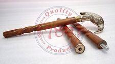 Vintage Brass Crow Bird Head Handle Walking Stick Cane Wooden Brown Spiral Stick