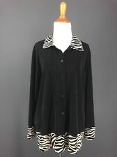 Travel Knit Jacket L Black Zebra Print Slinky Button Front WORTHINGTON