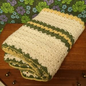 Vintage Green Yellow Stripy Knitted Crochet Wool Blanket / Throw