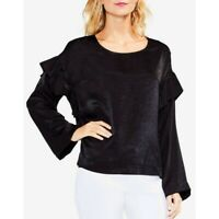 TWO BY VINCE CAMUTO NEW Women's Satin Ruffled Blouse Shirt Top TEDO