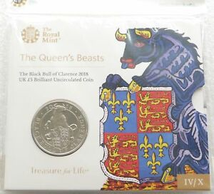 2018 Royal Mint Queens Beasts Black Bull of Clarence £5 Five Pound Coin Pack