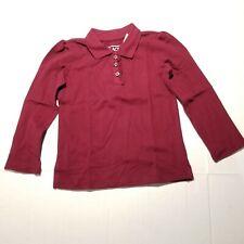 Children's Place Girls School Uniform Polo Long Sleeve Rubine Red Shirt size 4T