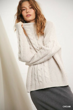 Umgee Oversized Cable Knit Long Sleeve Pullover Sweater Regular + Plus Size