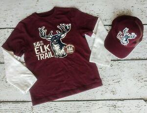 "GYMBOREE Boys ""Fox Trail"" Maroon Elk Trail Long Sleeve Shirt & Baseball Hat 7"