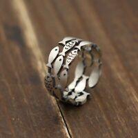 925 Sterling Silber Fisch Ringe Frauen Hochzeit Engagement Schmuck Große Finger.