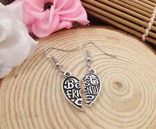 Free shipping Fashion Antique Silver Jewelry  B 3D Best Friend earring