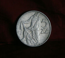 1974 Poland 5 Zlotych World Coin Y47 Fisherman Eagle with Wings Open Polish Nice