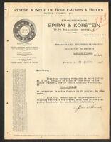 """MARSEILLE (13) Remise à neuf de ROULEMENTS à BILLES """"SPIRAI & KORSTEIN"""" en 1933"""