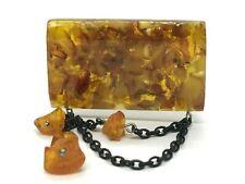 Vintage Amber BROOCH Old Antique Pressed Natural Baltic Amber Beads 14,7g 9761